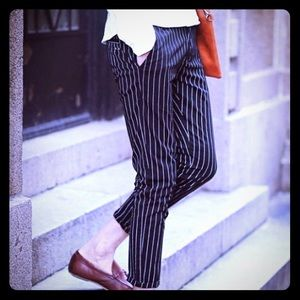 Ann Taylor elastic waisted striped pants